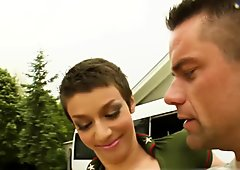 All Internal Short-haired girls ass is fucked and filled with cum