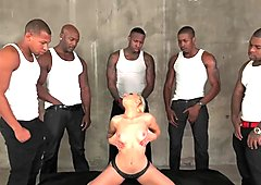 ArchAngel Ashley Fires sucking 5 big black cocks