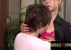 Japanese newhalf orally pleasing with guy