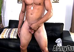 Muscular soldier jerks off his rock hard cock until he cums
