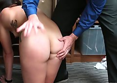 Sexy thief Geneva King punished in front of bf
