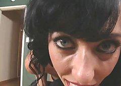 Busty oriental bitch Alia Janine gives hot titsjob