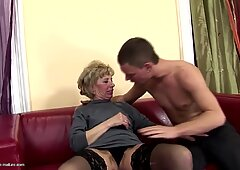 furry mature mother gets tough anal sex from son