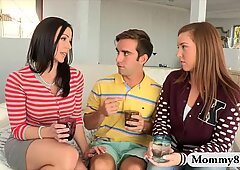 Busty milf Kendra Lust threesome session with teen couple