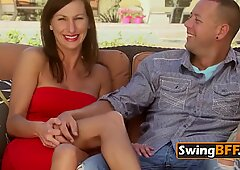 Hot swinger couple performs a sex scene on a piano