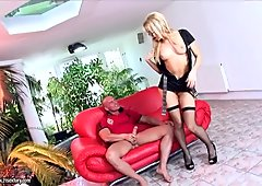 Sex crazy milf in stockings Aleska Diamond gives blowjob and fucks on a red couch