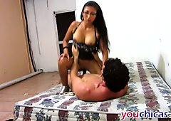 Nerdy Latina babe with reading glasses fucked hard by a big cock