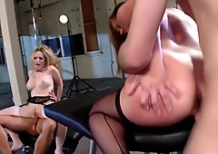 HarmonyVision Busty Aiden and Sara enjoy big cocks