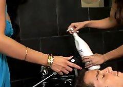 Great hairdresser Ann Marie fucking hard a client