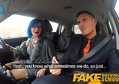 Fake Driving School Sexy emo gets her ass pounded and throat fucked