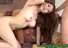 She puts her mouth on a hairy cock.