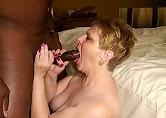 BBC Cum in Blonde Granny Mouth