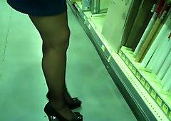 Blue Miniskirt Black Stockings