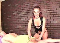 Teen girl gives a painful handjob