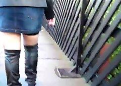 Negro calcetines, liguero, botas hasta la rodilla,