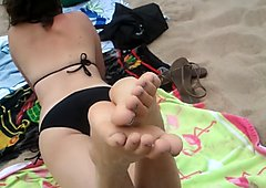 Heidi's sandy beach feet