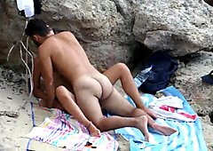 Concealed naked beach sex