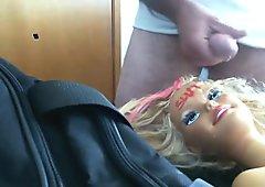 Barbie covered in cum.