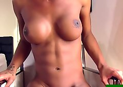 Bigtitted black tgirl tugging her big cock