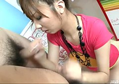 Playful and daring asian chick Hinano got her face covered with a jizz in a gang bang