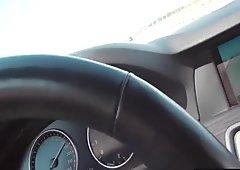 Hot brunette teen swallows cum for money in a car