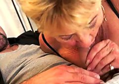 Old aunty is sucking hard dong of horny stud in dirty old young porn clip