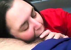 Chubby girl sucking my cock