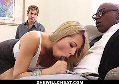 SheWillCheat - spectacular blonde gf Fucks BBC For Cuckold Boyfriend
