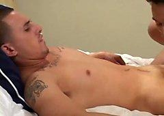 Cute gay boy gives his lover a deep blowjob