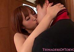 Japanese teen cocksucks before facial cumshot