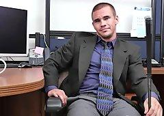Threeway office cocksucker rides boss cock